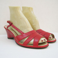 60s 70s Sandals Vintage Red Wedge Heel Slingback Shoes 8.5 9