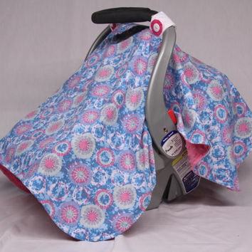 Pink Blue Baby Car Seat Canopy, Tie Dyed Circles, Baby Girl, Infant Girl, Baby Shower Gift, Infant Car Seat Canopies