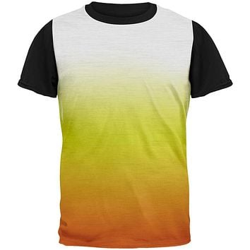 Halloween Candy Corn Ombre Costume All Over Mens Black Back T Shirt