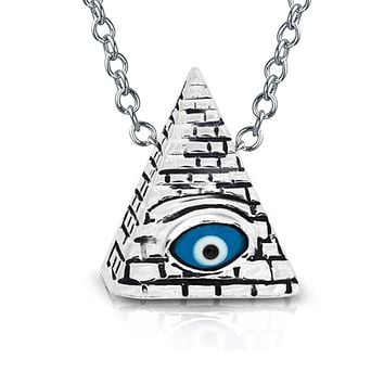 Egyptian Pyramid Charm Evil Eye Blue Pendant Necklace Sterling Silver