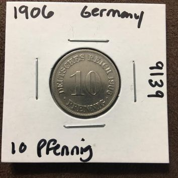 1906 German Empire 10 Pfennig Coin 9139
