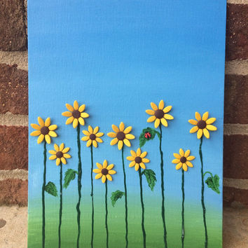 SALE Sunflower Field 3D Painting, Fall Mixed Media Art, Acrylic and Polymer Clay