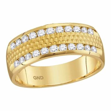 14kt Yellow Gold Mens Round Diamond Double Row Hammered Wedding Band Ring 1-2 Cttw