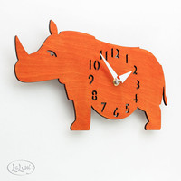 "The ""Rotund Rhino in Orange"" designer wall mounted clock from LeLuni"
