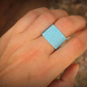 Blue ring Wide band ring Everyday rings Minimalist rings Modern rings Women ring  Stylish rings Seed bead jewelry Blue beaded ring Blue band