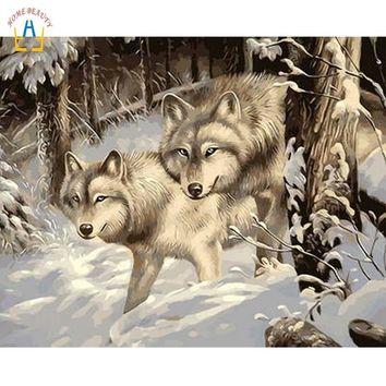Snow wolf picture for drawing coloring by numbers on canvas nordic wall art paintings for living room home decor WYA224