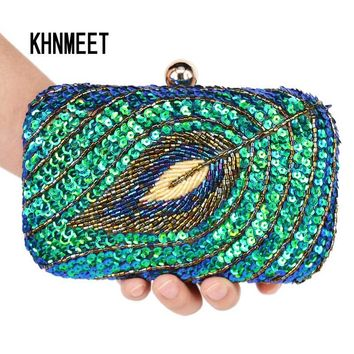 Vintage Women Clutch Bags Peacock Sequins Beaded Chain mini handbags Bridal Purse luxury Party Evening Bag wholesale Z85