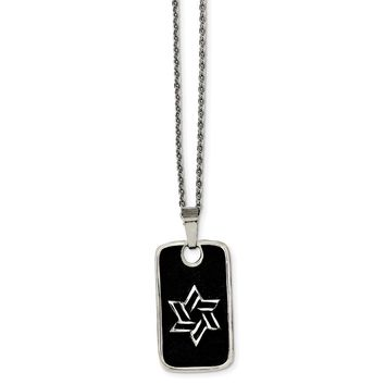 Stainless Steel Antiqued Star of David Dog Tag Necklace 24in