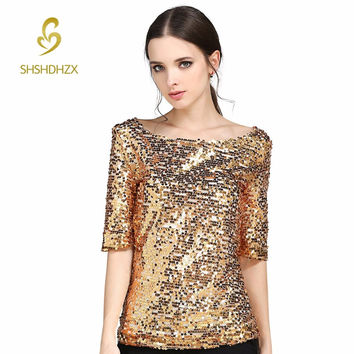Europe Hot Sexy Slash Neck Sequin Party Top Womens Lady Sparkle Glitter Tank 1/2 Sleeve Casual T-shirt S-5XL