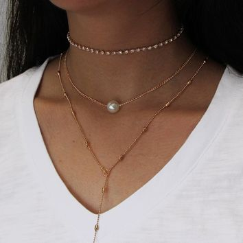 Multilayer Pearl Chocker Necklace