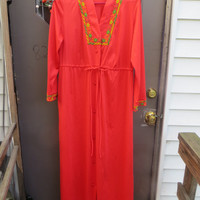 vintage mod   70s TANGERINE  with embroidered flowers lingerie MAXI  lounger  nylon robe housecoat   sz med