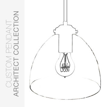 "Custom Design Your 8"" Clear Blown Glass Pendant Light"
