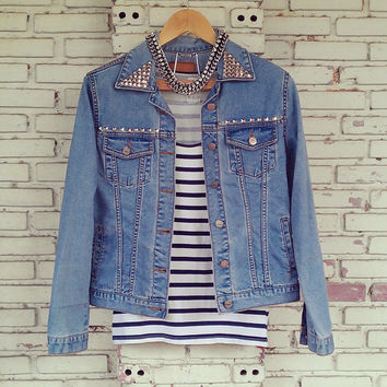 Vintage Studded Jean Jacket / DIY Studded Denim Jacket Size: L