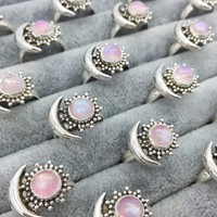 Sterling Silver & Pink Rainbow Moonstone Sun & Moon Ring
