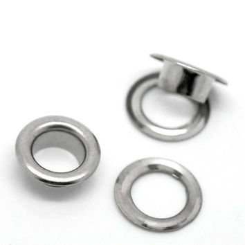 Pack of 50 Round Silver Metal Eyelets & Grommets. 10mm x 4mm Punch Tubes for Banners, Curtain, Fabric, Mounting, Paper, Shoes and Crafts