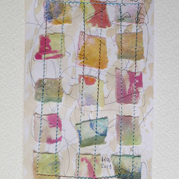 Stitched Collage, Colour Study, Textile Art, Fibre Art, Paper, Unique, OOAK