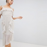 ASOS DESIGN Soft Pencil Midi Dress In Ruffle Spot Print at asos.com
