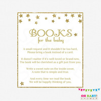Gold Baby Shower, Book Card Baby Shower, Neutral Baby Shower, Twinkle Twinkle Little Star, Bring a Book, Book Request Baby Shower, STGG
