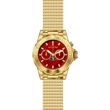 Invicta 80329 Men's Pro Diver Red Dial Gold Plated Steel Mesh Bracelet Multifunction Watch