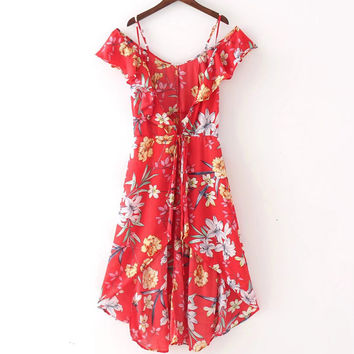 Floral Print Bohemian Beach Dress Summer Drawstring Waist V-Neck High Split Sexy Vintage Flower Holiday Party Prom Womens Dresse
