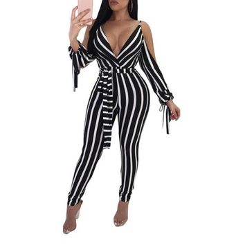 New Fashion Women Casual V neck Bandage Spaghetti Straps Backless Lace up Jumpsuits Stripes Bodysuits Overall Pants
