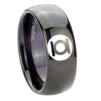 8MM Classic Dome Green Lantern Shiny Black Tungsten Laser Engraved Ring