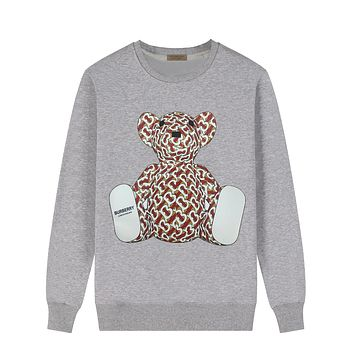Burberry Autumn And Winter New Fashion Letter Bear Print Women Men Leisure Long Sleeve Top Sweater Gray