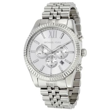 Michael Kors Lexington Chronograph Silver Dial Stainless Steel Mens Watch MK8405