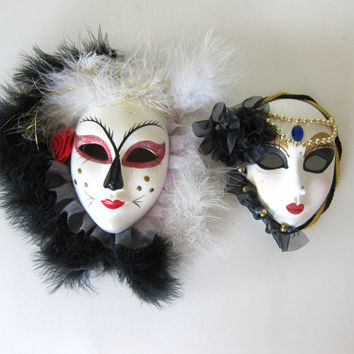 20% OFF SALE vintage black and white ceramic Mardi Gras masks / small painted masks / wall hangings