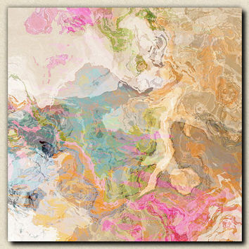 "Large abstract expressionism stretched canvas print, 30x30 in pastels, from abstract painting ""Dreamgirl"""