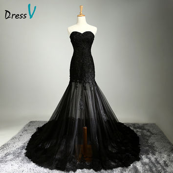 Dressv Sexy Black Lace Mermaid Long Evening Dresses 2016 Sweetheart Sleeveless Sequins Court Train prom Party Gown evening dress