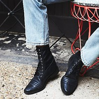 Free People Womens Sounder Lace Up Boot