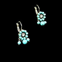 Turquoise Color Bead and Rhinestone Dangle Earrings