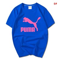PUMA Summer New Fashion Bust Letter Print Leisure Women Men Top T-Shirt 6#