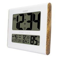 La Crosse Technology Wood Accent Atomic Digital Wall Clock with In/Outdoor Temperature in White
