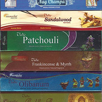 Set of 6 Nag Champa Sandalwood Patchouli Olibanum Frankincense-Myrrh Buddha Flora (Incense Holder Included)