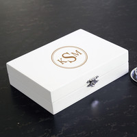 White Personalized Wooden Jewelry Box