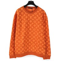 Louis vuitton selling casual couple sweaters and fashion knit logo round-neck cardigans