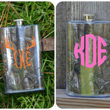 Camo Flask Monogram or Name ~ Stainless Steel ~ Camoflauge ~ Custom