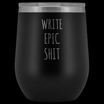Funny Writer Gifts for Men for Women Author Tumbler Writer Stemless Stainless Steel Insulated Wine Tumbler Cup BPA Free 12oz