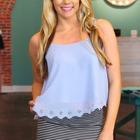 Sunny Daisies Crop Top - Periwinkle