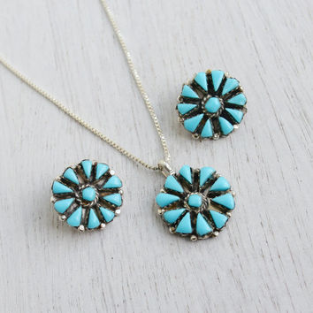 Vintage Sterling Silver Faux Turquoise Necklace & Clip on Earring - 1970s Retro Blue Jewelry Set / Teal Matching Sterling Silver