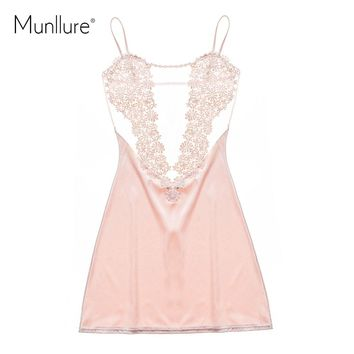 Munllure 2017 Satin Solid Sexy Pajamas with Lace Floral Pyjama Femme Fashion Women Nightgown Sleepwear Homewear for Ladies
