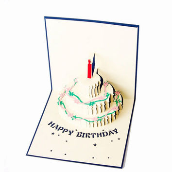 Birthday Cake 3D paper laser cut pop up handmade post cards custom gift greeting cards souvenirs party supplies