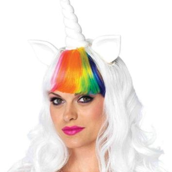 DCCKLP2 The 2PC. Unicorn Kit, Unicorn Wig w/Adjustable Elastic Strap, Rainbow Tail in Multi-color