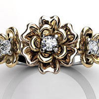 14k three tone white, yellow and rose gold diamond unique floral three stone engagement ring, bridal ring, wedding ring ER-1057-9