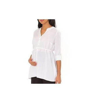 Great Expectations Maternity 3/4 Sleeve Woven Henley Tunic, White, Xl