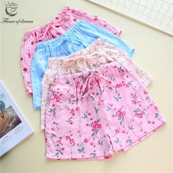 Cotton material women shorts  Pants Pajamas Womens Pajama Bottoms Pajama Pants Sleep Shorts 1005
