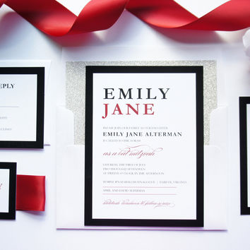 Red Bat Mitzvah, Quince or Sweet Sixteen Invitation - DEPOSIT