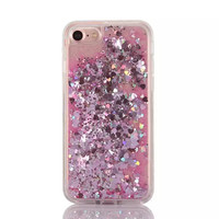 Pink Cascading Hearts and Glitter Case for iPhone 7